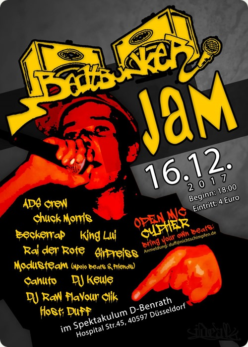 Beatbunker Jam mit Chuck Morris, SirPreiss, Canuto, King Lui, Rai der Rote, ADS Crew & Modusteam(Flyer 1)